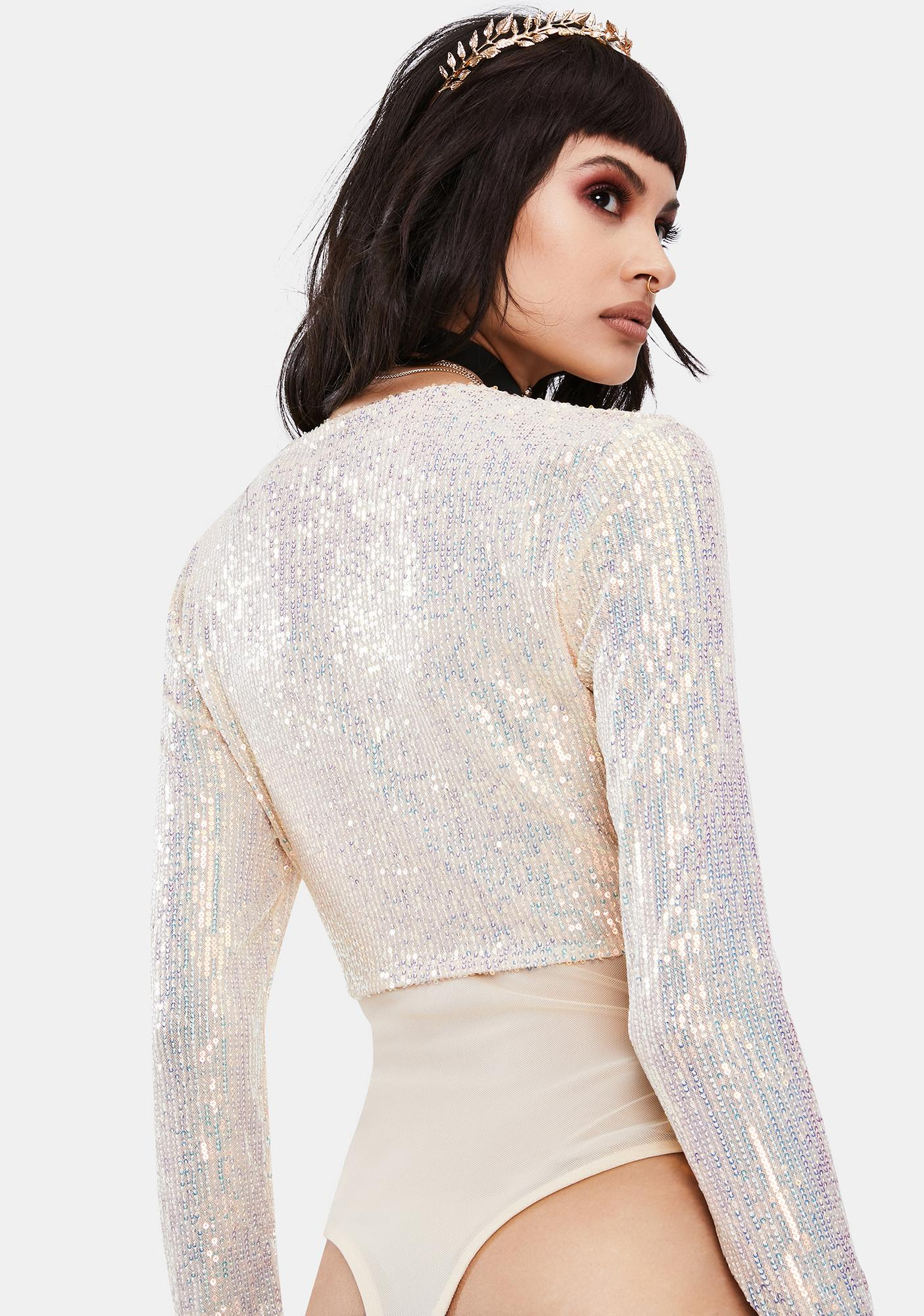 Opal Glam Moment Sequin Top And Mesh Bodysuit Set