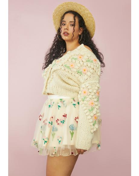 Our Enchanted Meadow Floral Tulle Skirt