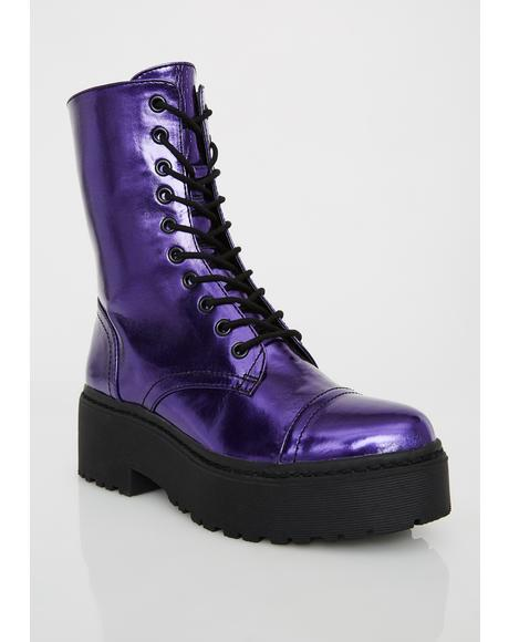 Electric Army Metallic Boots