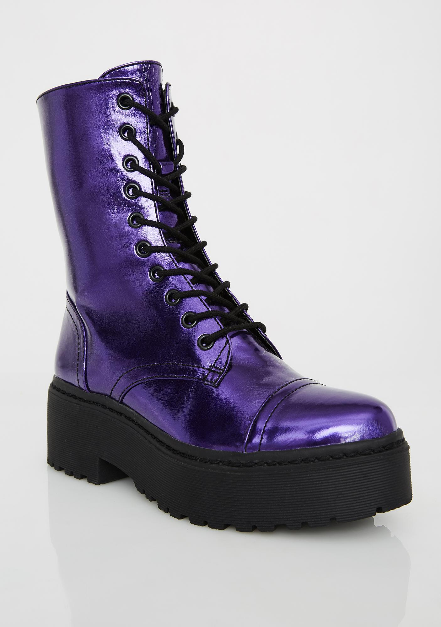 Current Mood Electric Army Metallic Boots