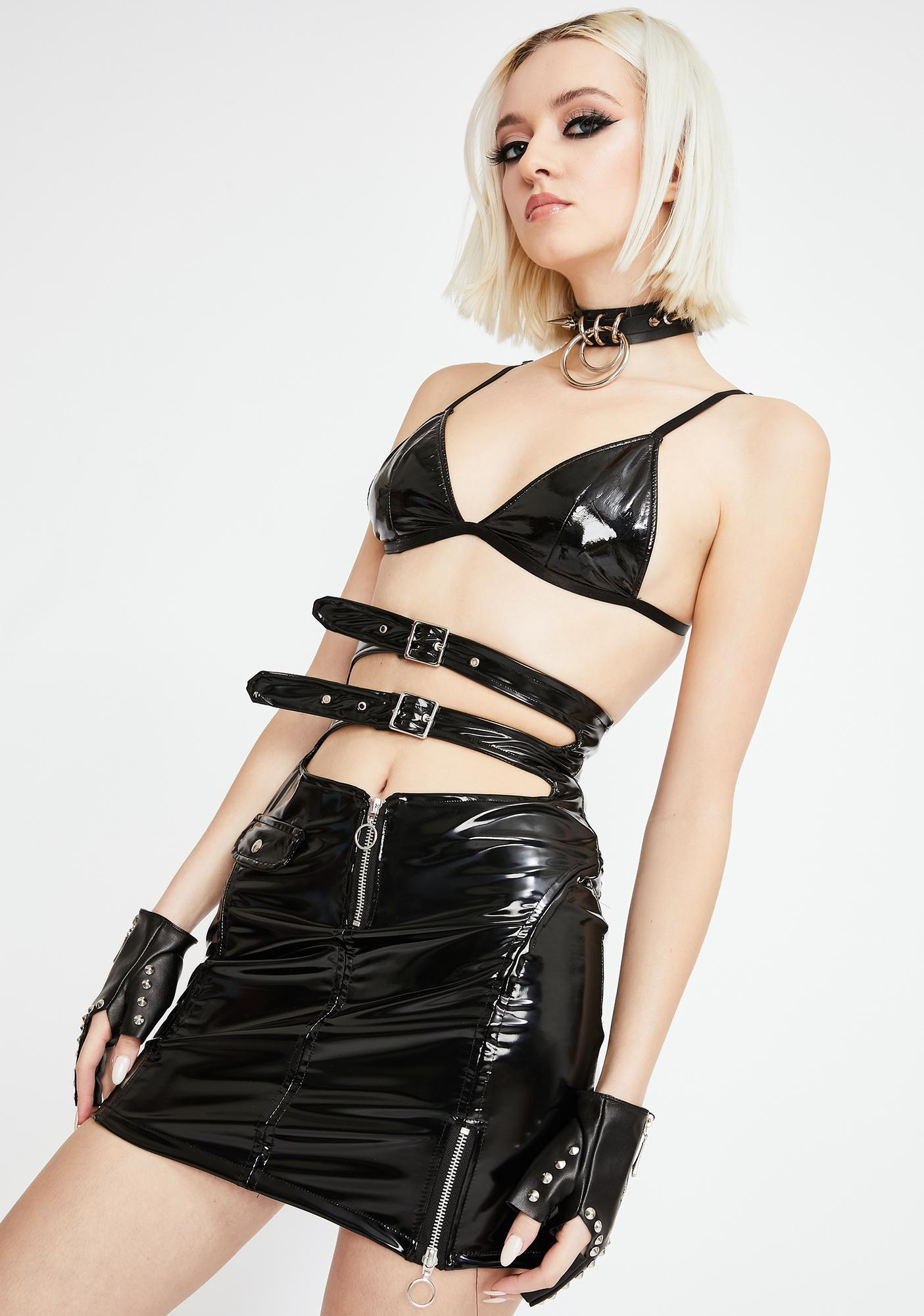 Strange Couture Faster Pussycat Patent Biker Skirt