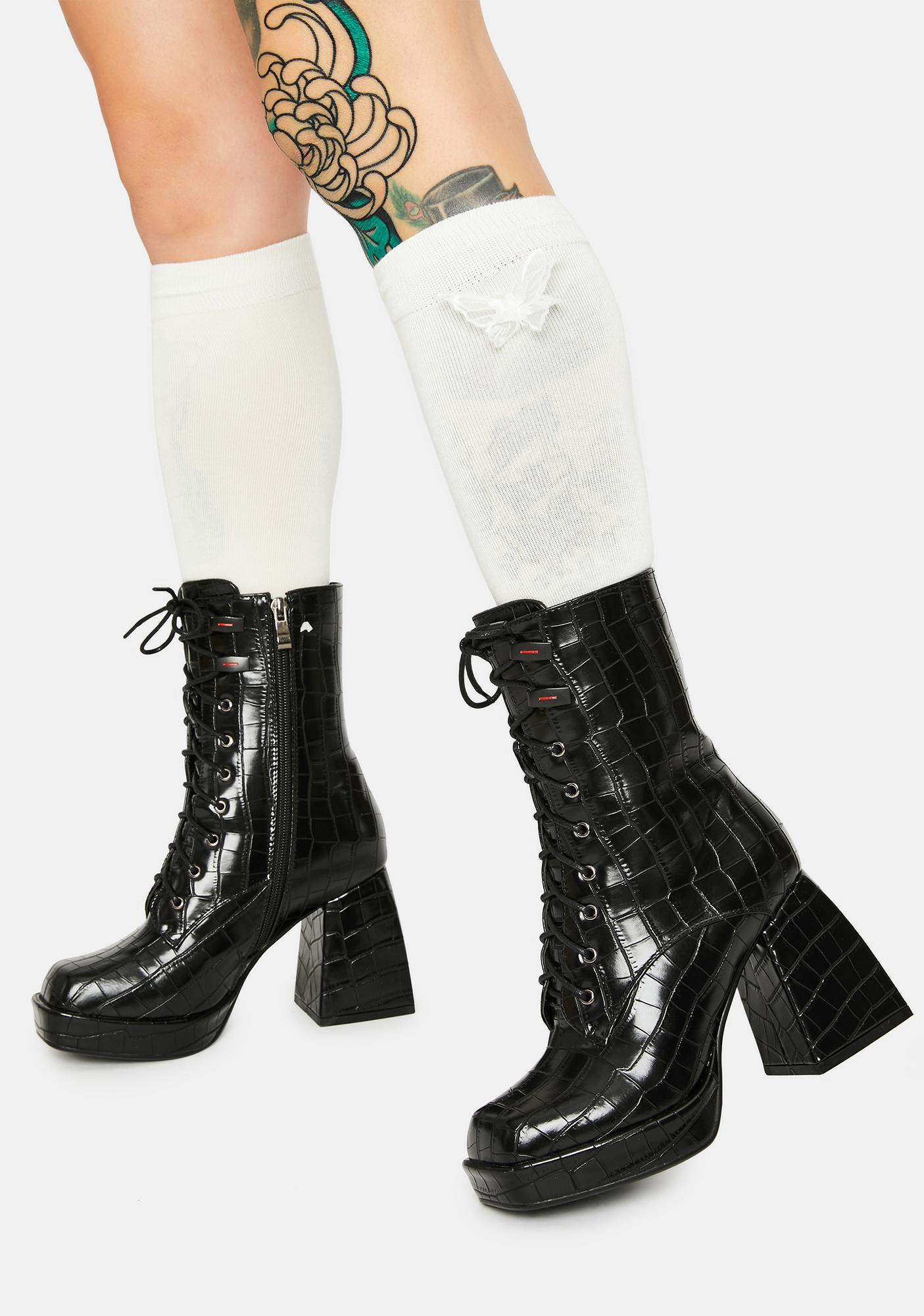 AZALEA WANG Draft Square Toe Boots