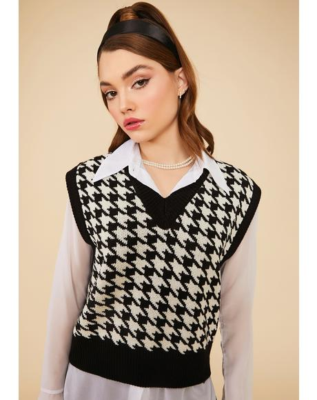 Night Somebody Told Me Houndstooth Sweater Vest