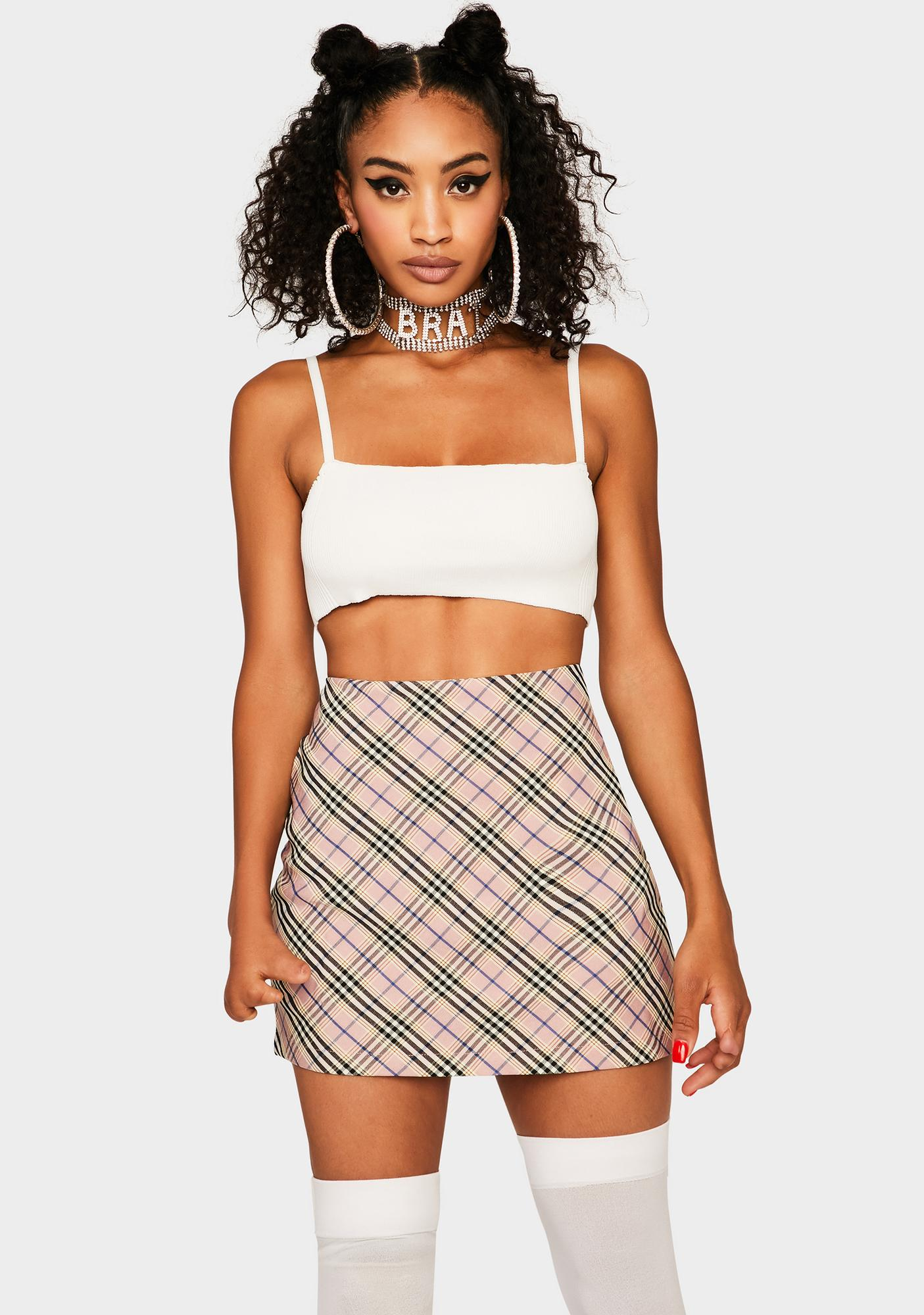 Bailey Rose Pink Plaid Mini Skirt