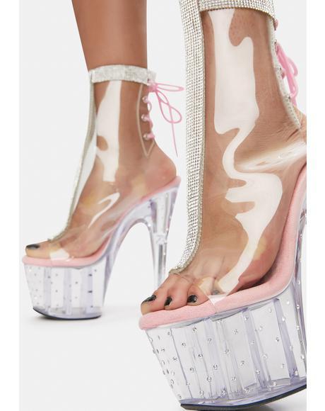 Blush Spotlight Stunner Clear Platform Boots