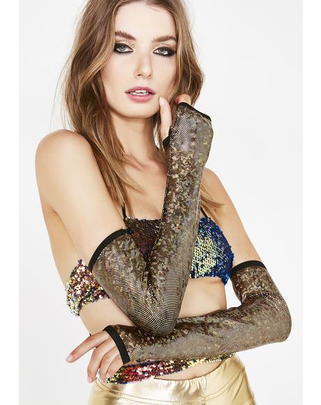 Gold Mesmerized Vibe Fingerless Gloves
