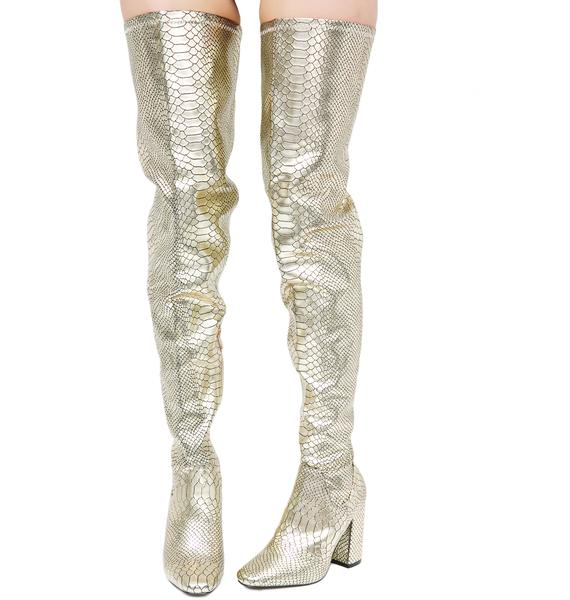 Golden Force Of Nature Thigh High Boots