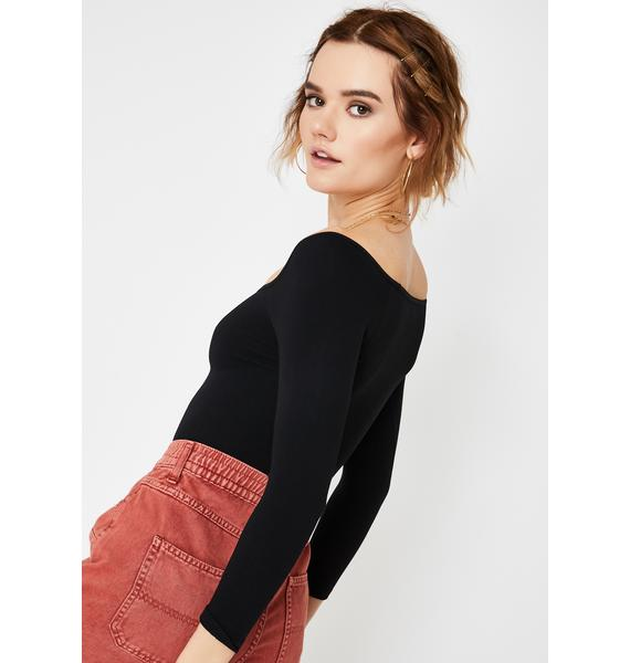 Free People Square Neck Long Sleeve Knit Top