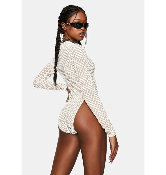 Kiki Riki Off White Mesh Long Sleeve Bodysuit