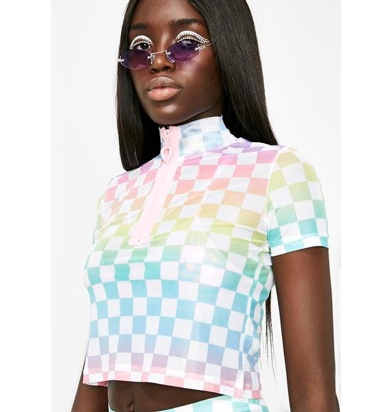 Sugar Thrillz Countin' Checks Crop Top
