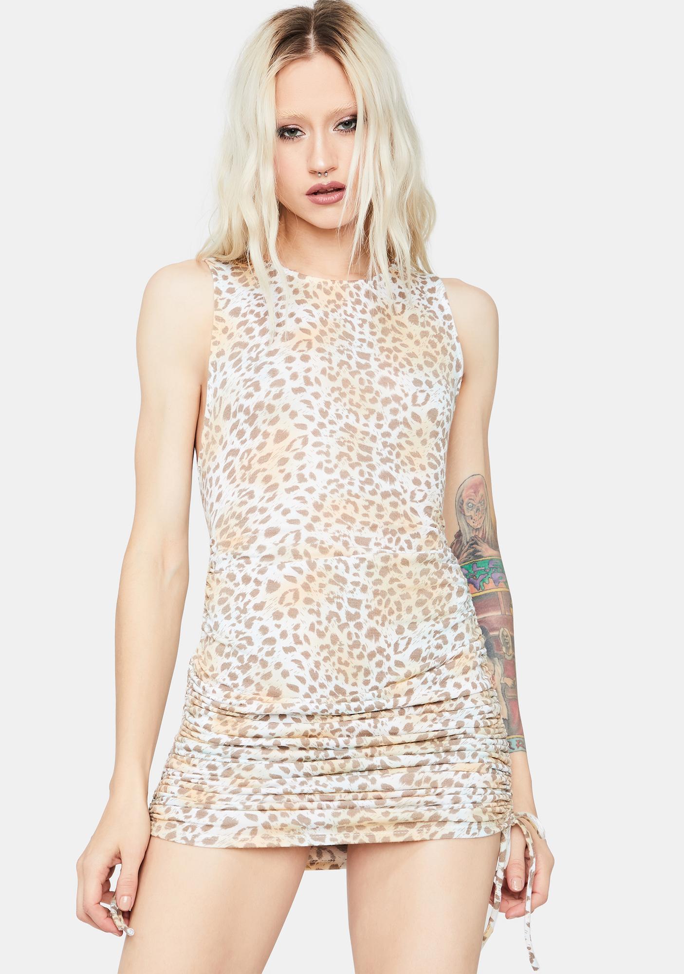 Wild Life Ruched Leopard Print Dress