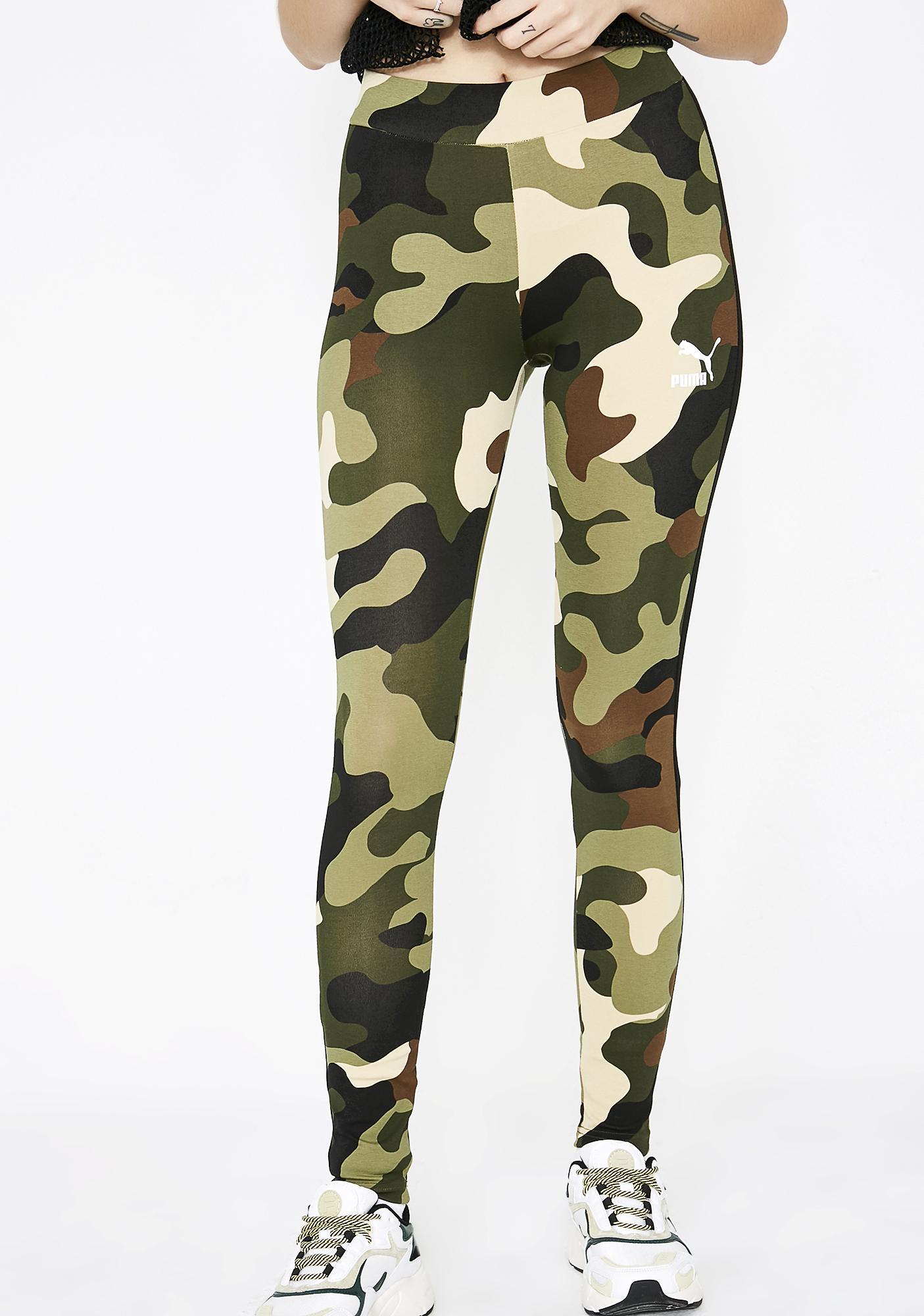 e1457ee2a4b55 PUMA Camo Wild Pack T7 Stripe Leggings | Dolls Kill