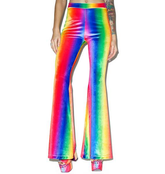 J Valentine Rainbow Velvet Bell Bottoms