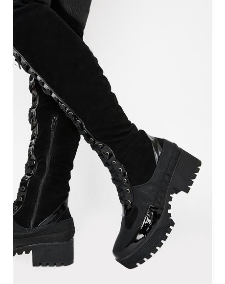 Night Causin' Mischief Combat Boots