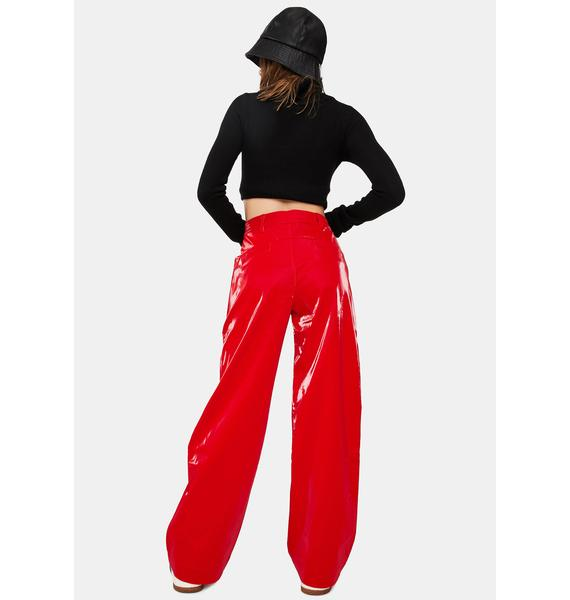 Somewhere Nowhere Red Rebel Faux Leather Trousers