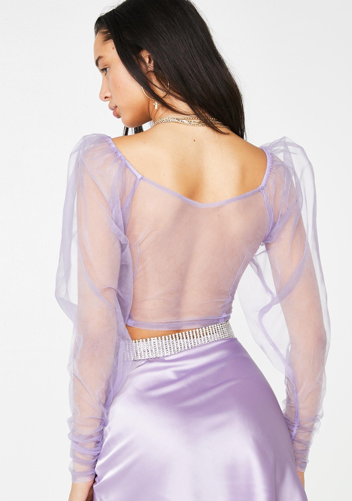 No Dress Lilac Transparent Puff Top