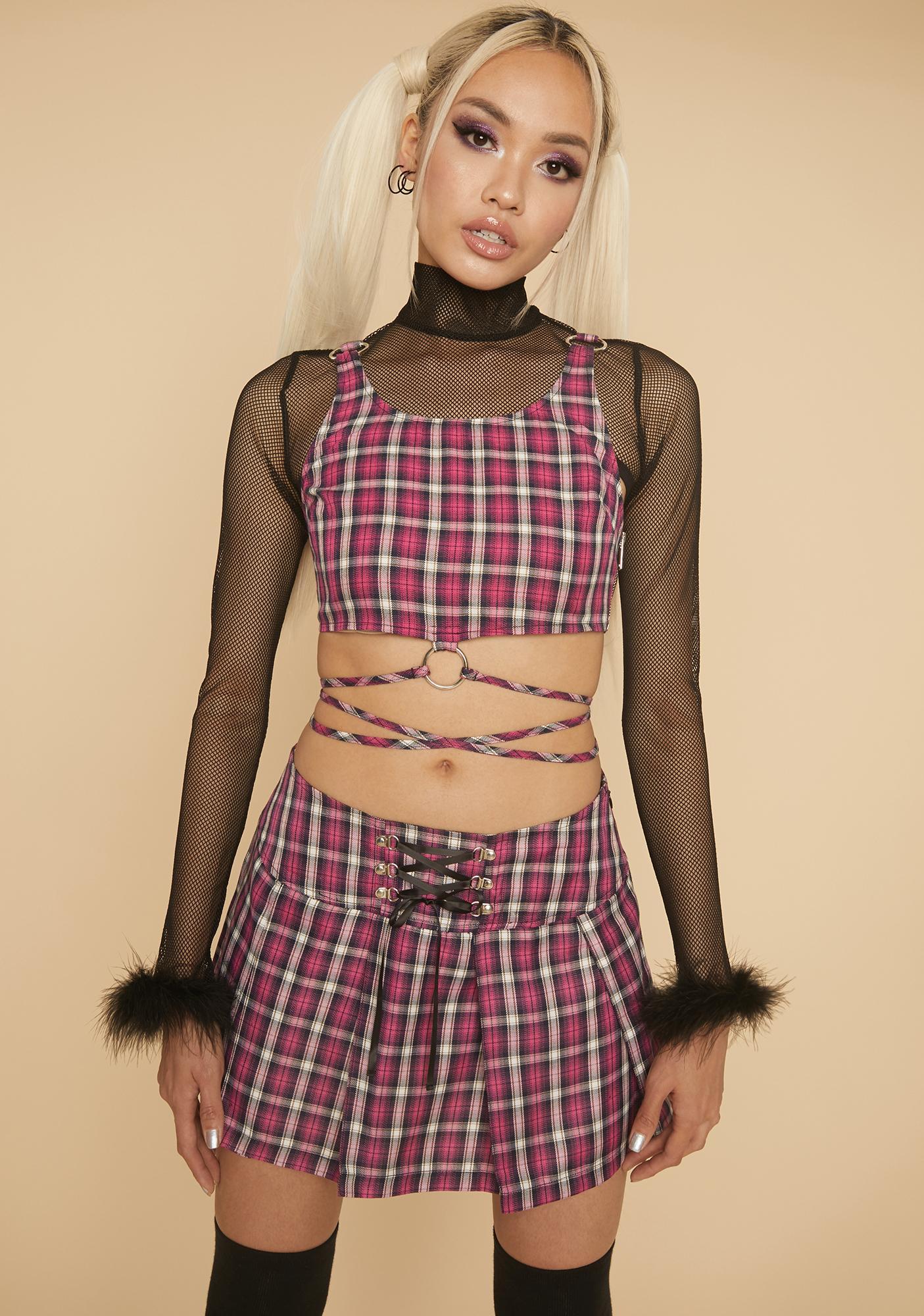 HOROSCOPEZ Snapshot Saver Plaid Mini Skirt
