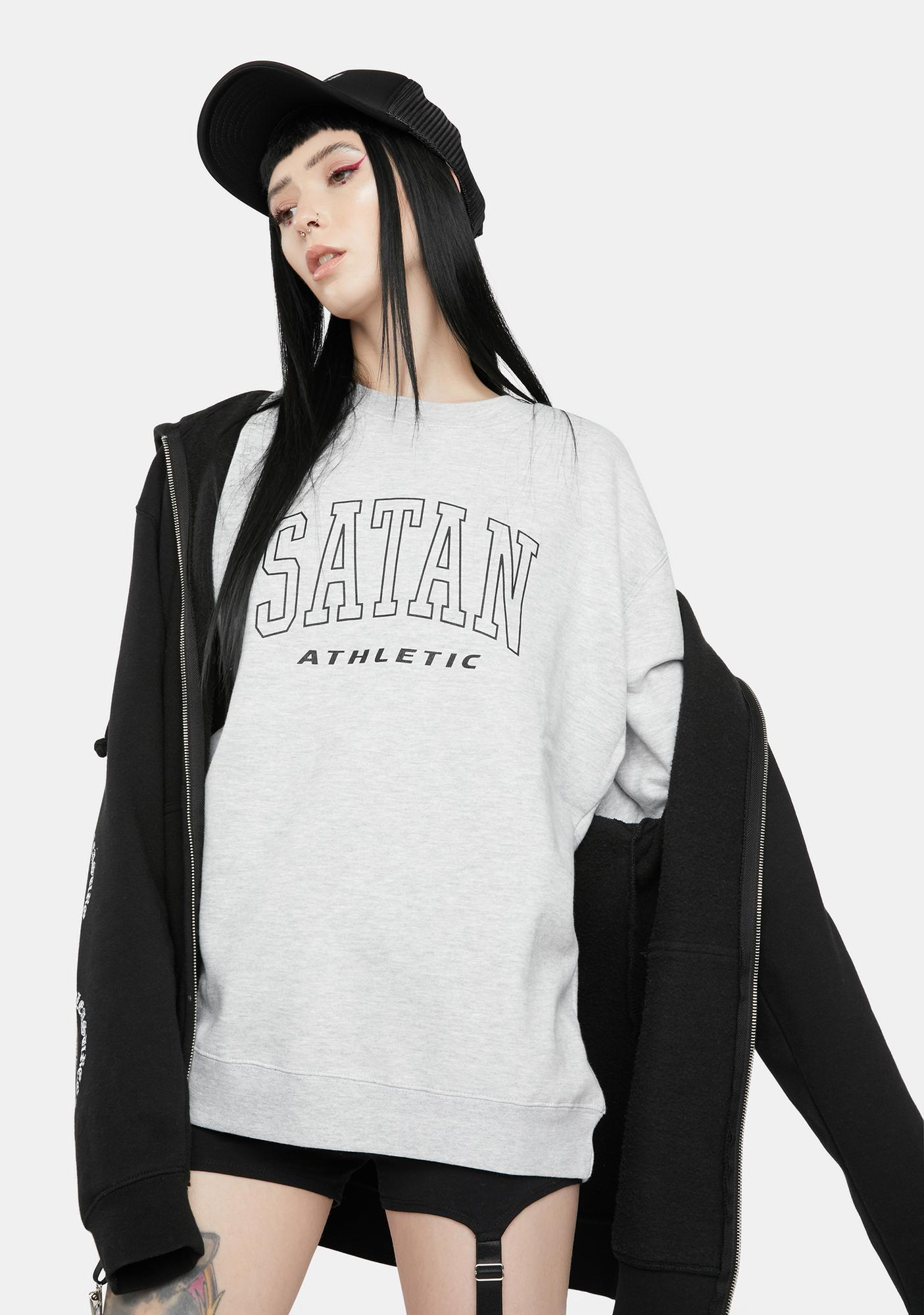 Satan Athletic Outline Athletic Logo Sweatshirt