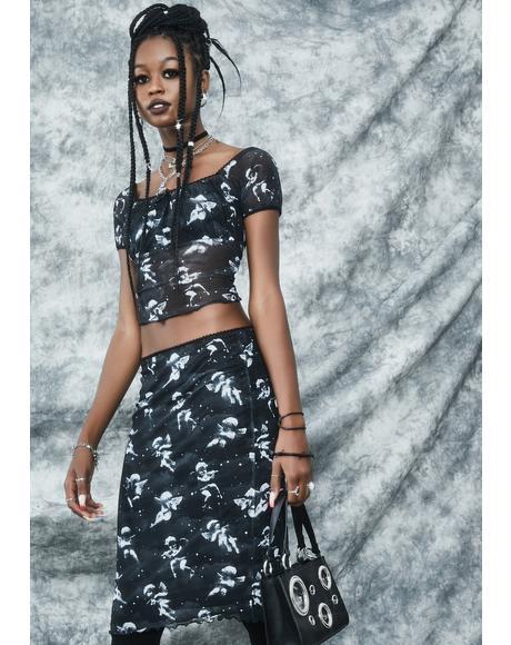 Unholy Spirit Mesh Midi Skirt