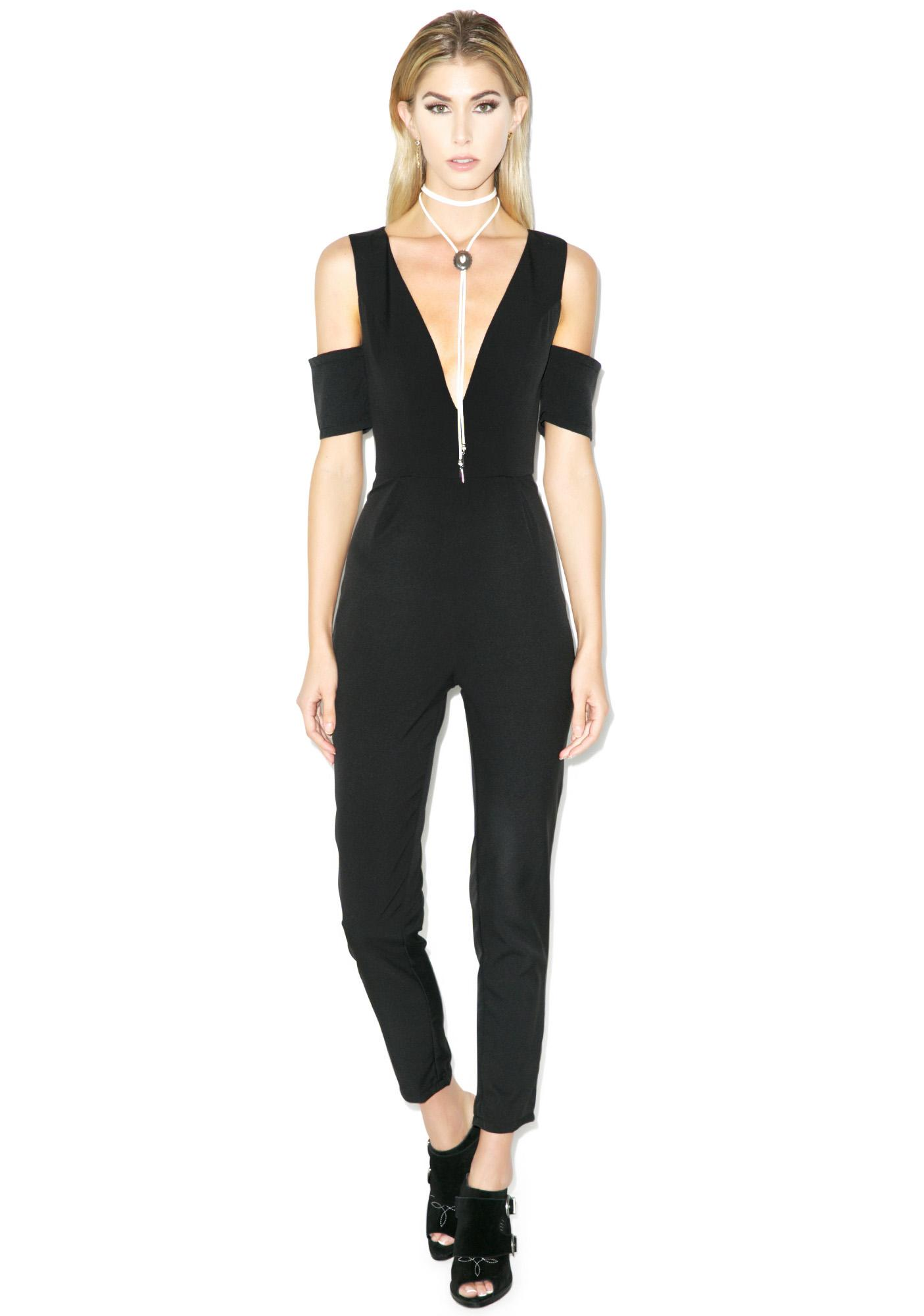 Tiger Mist Plunging Heights Jumpsuit