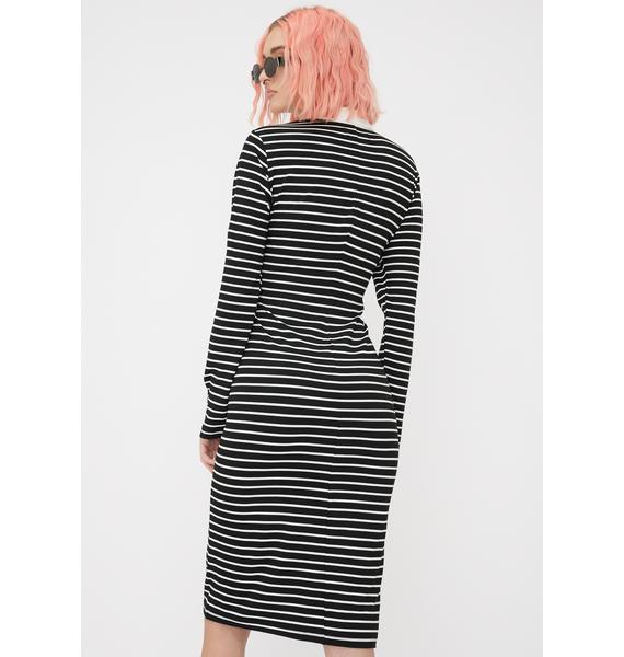 Disturbia Twisted Striped Midi Dress