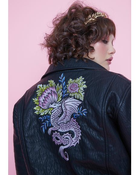 She's Gaia's Daughter Floral Embroidered Moto Jacket