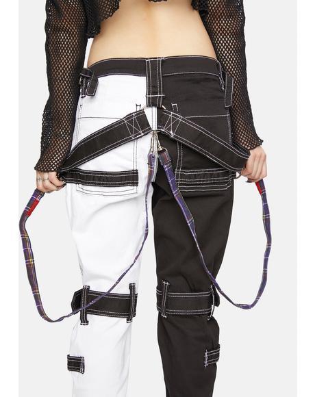 Purple Plaid Bondage Pant Straps