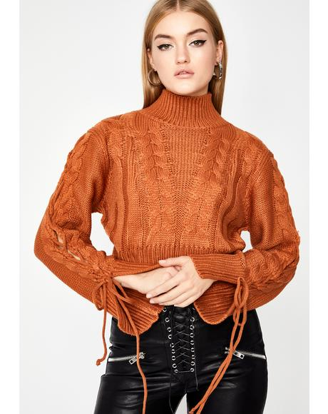Rust Read To Filth Turtleneck Sweater