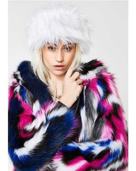 Lit White Fur Cap