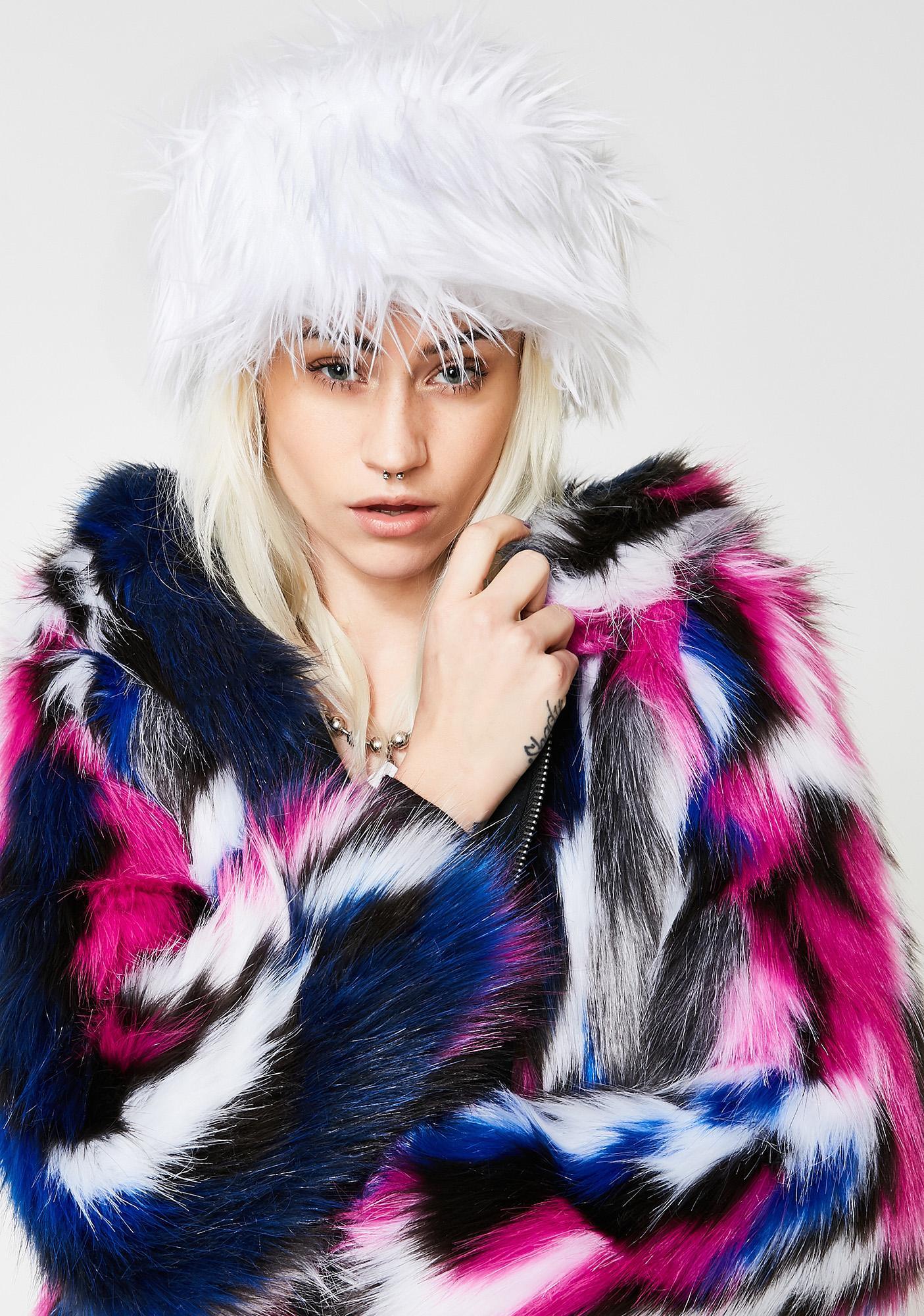 J Valentine Lit White Fur Cap