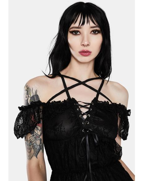 Gothic Lace Starline Short Sleeve Dress