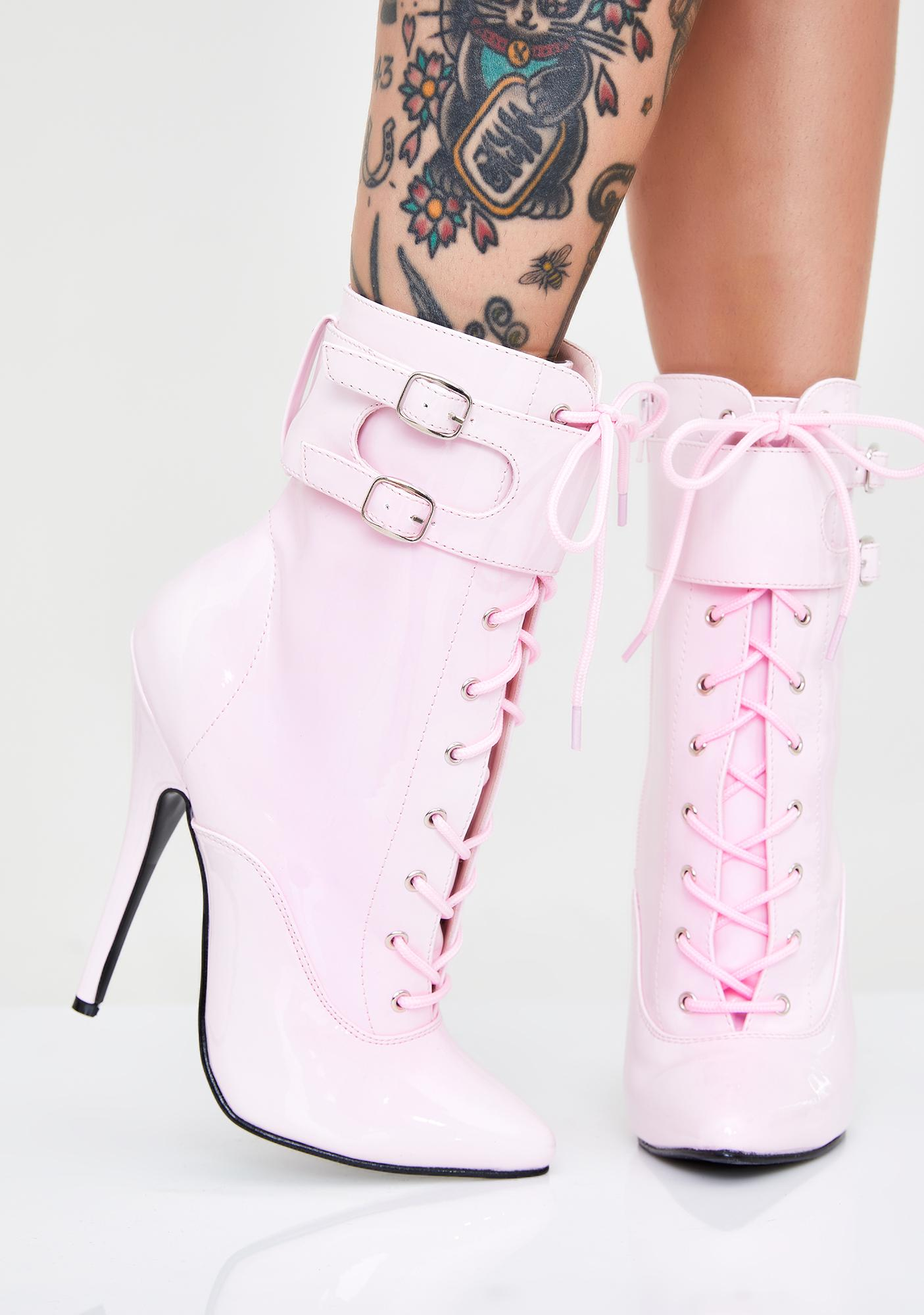 Pleaser Fine Frenemy Lace Up Heels