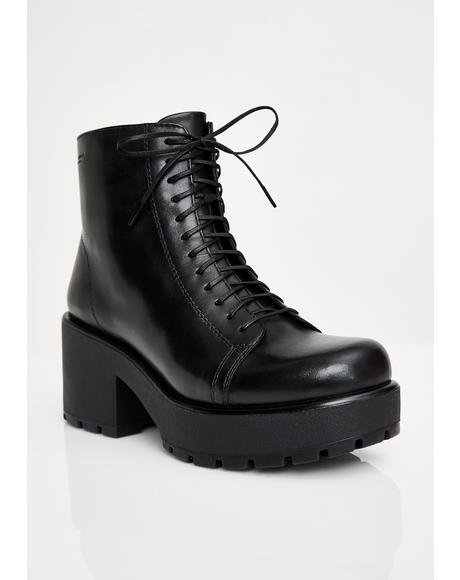 Dioon Lace Up Leather Boots