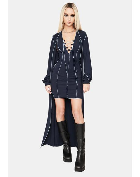 Navy Serve Looks Mini Dress And Kimono Set
