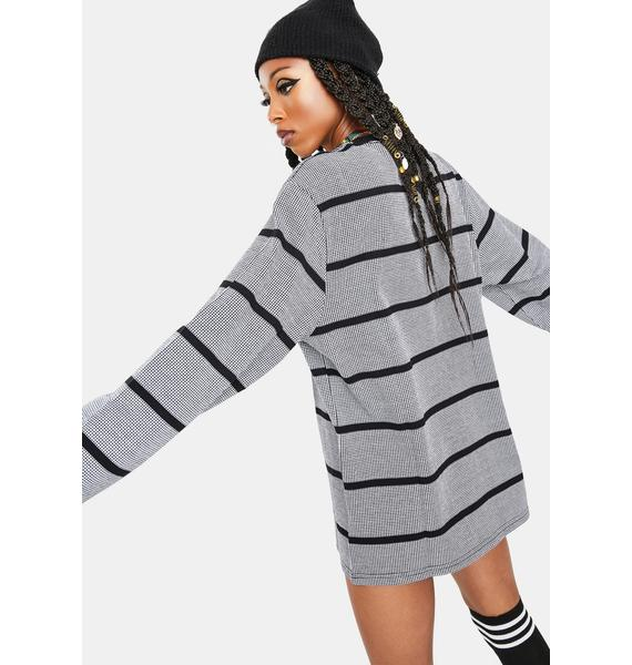 HUF Black Houndstooth Stripe Long Sleeve T-Shirt