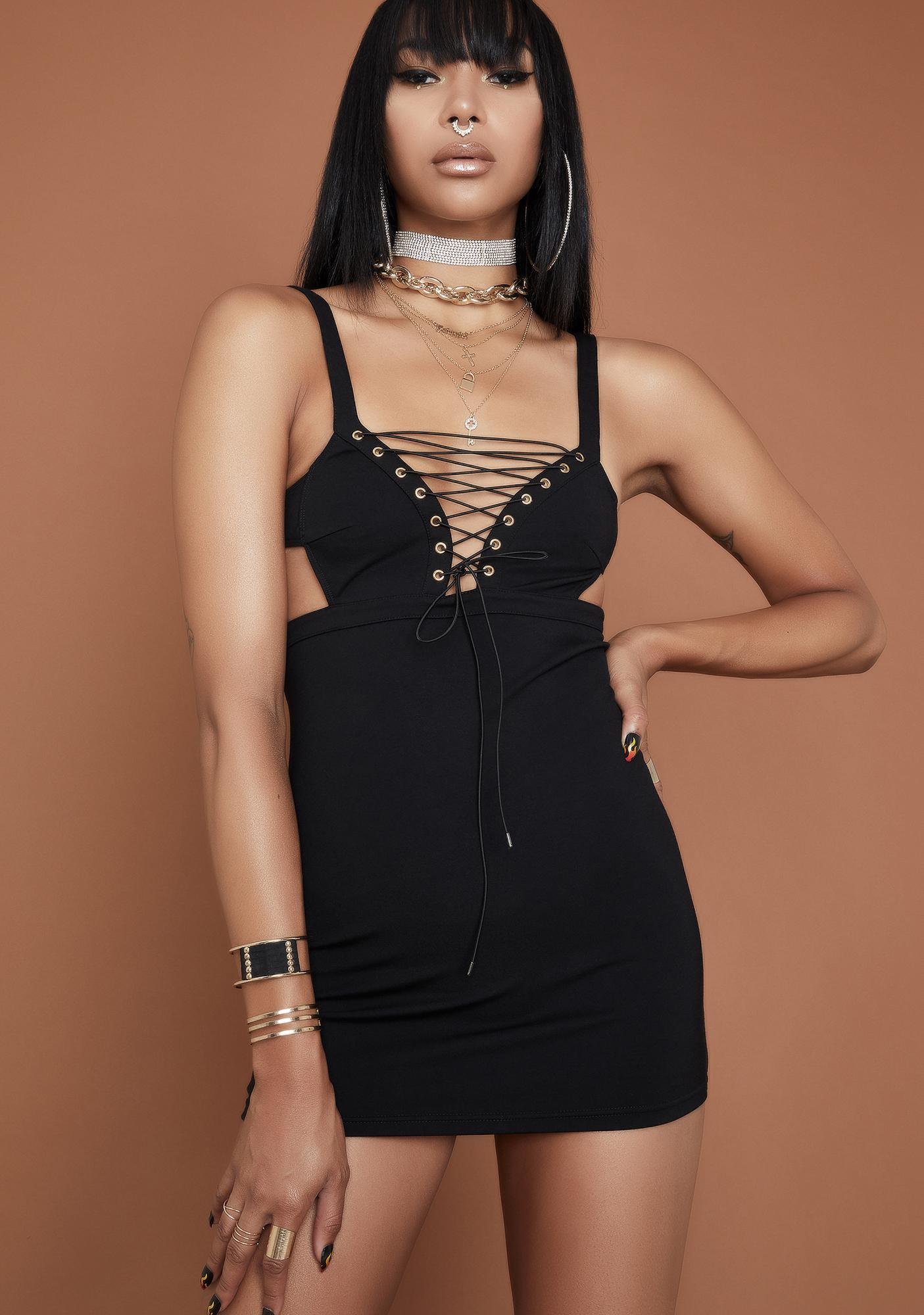 HOROSCOPEZ Love It Or Leave It Lace Up Dress
