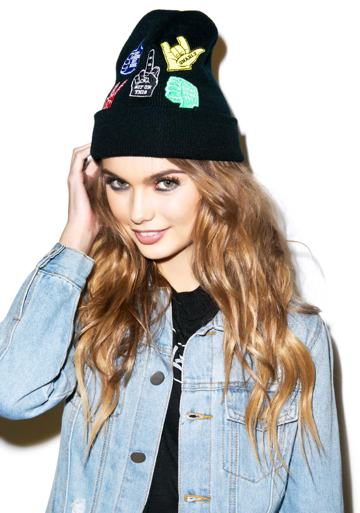 Petals and Peacocks Gestures Beanie