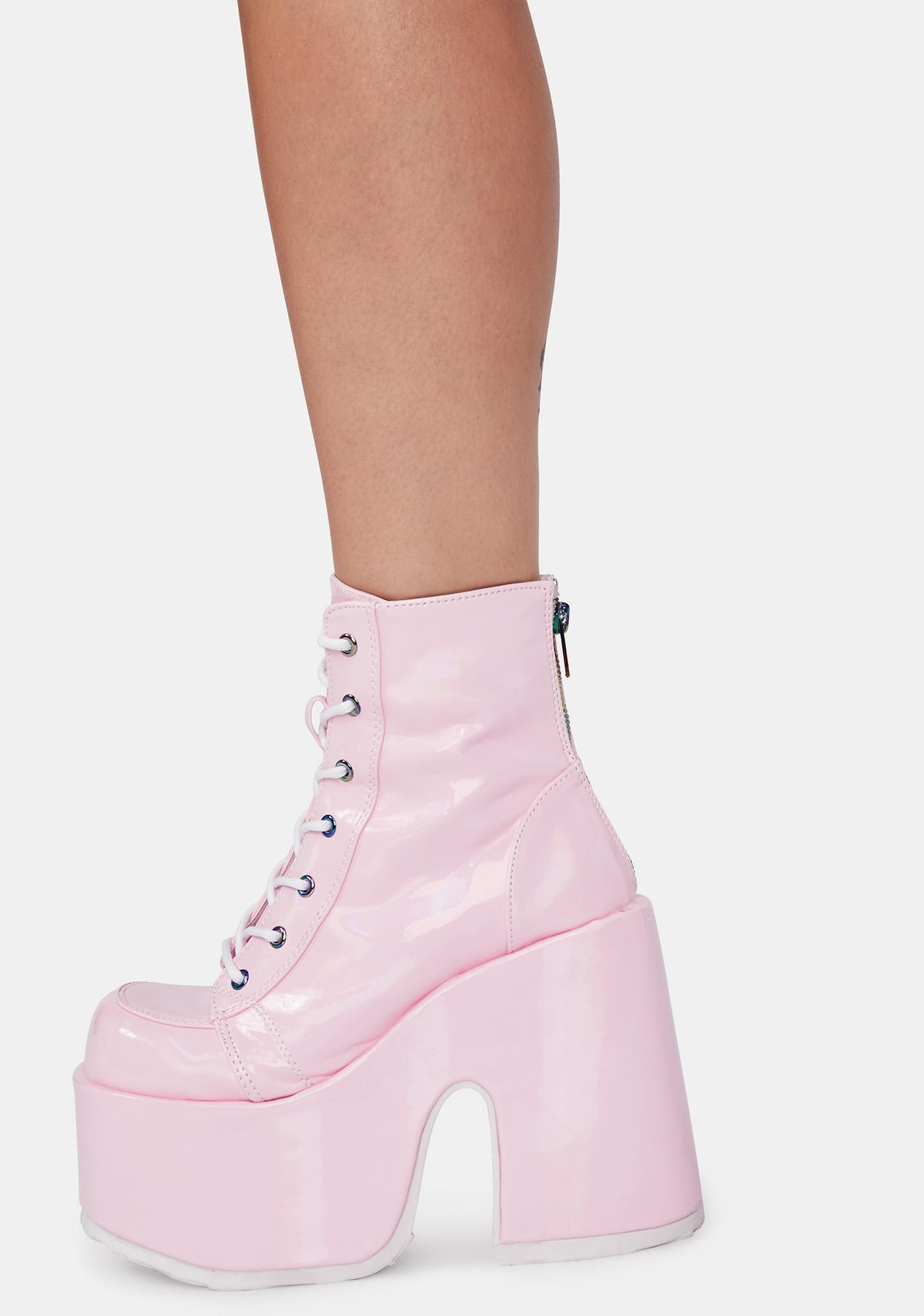 Demonia Bubblegum Rave Royalty Platform Boots