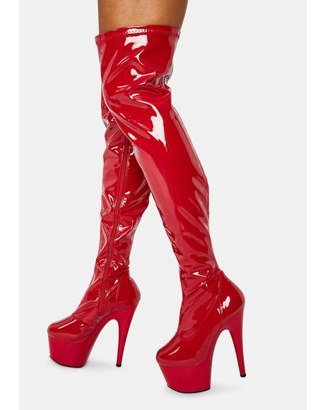 Crimson Club Strut Thigh High Boots