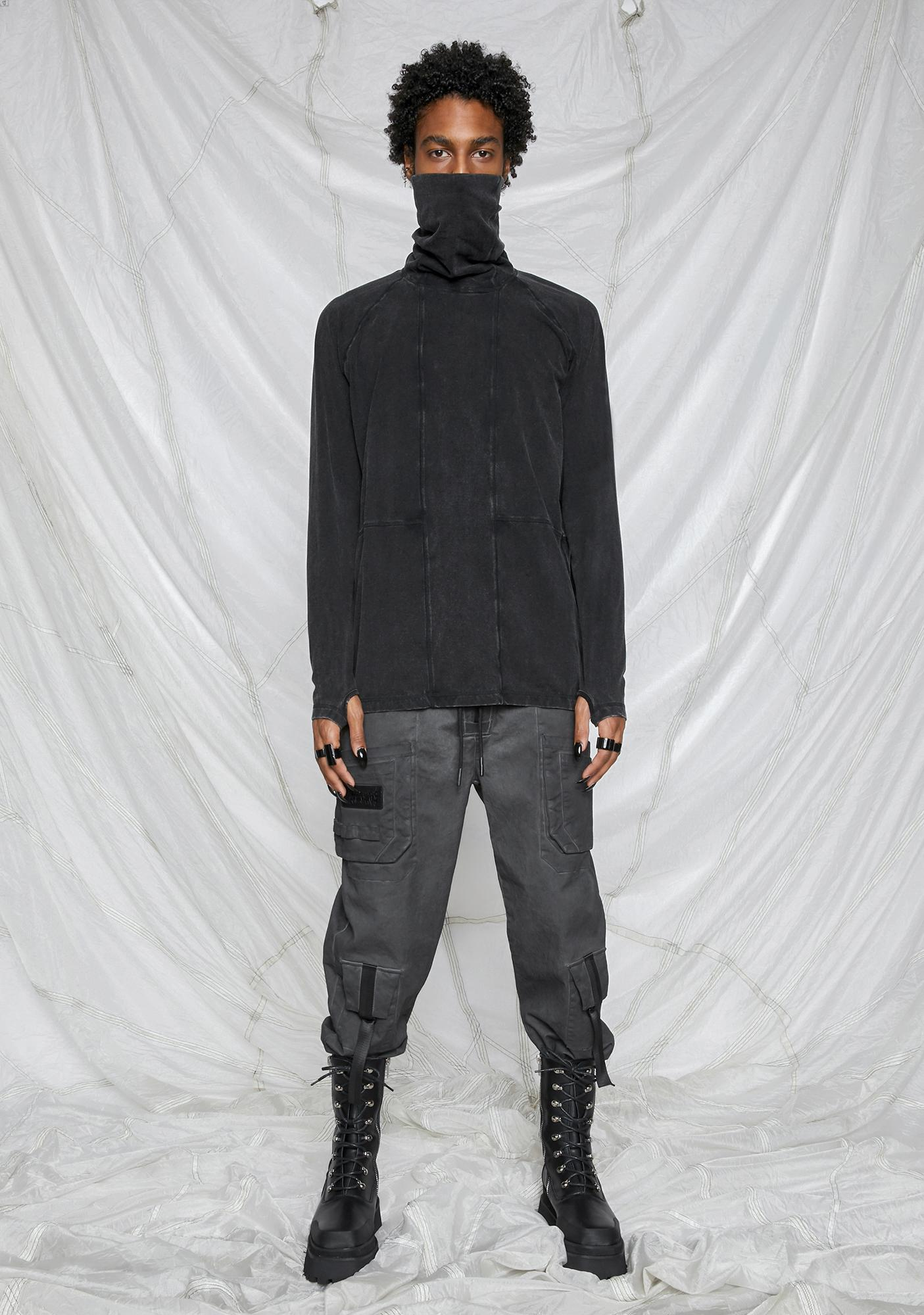 DARKER WAVS Synth Unisex Washed High Neck Mask Tee