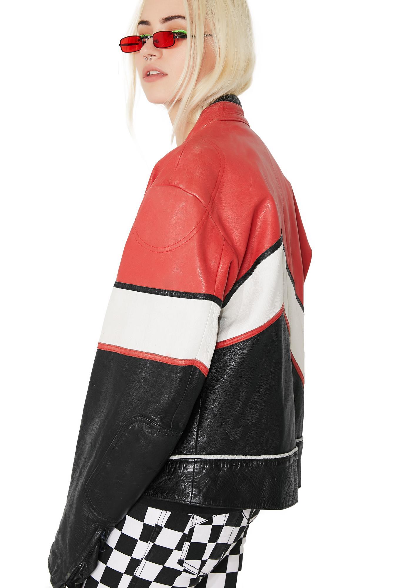 Vintage Red, White, N' Black Leather Racing Jacket