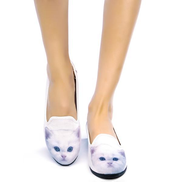 Y.R.U. White Kitty Lowf Flats