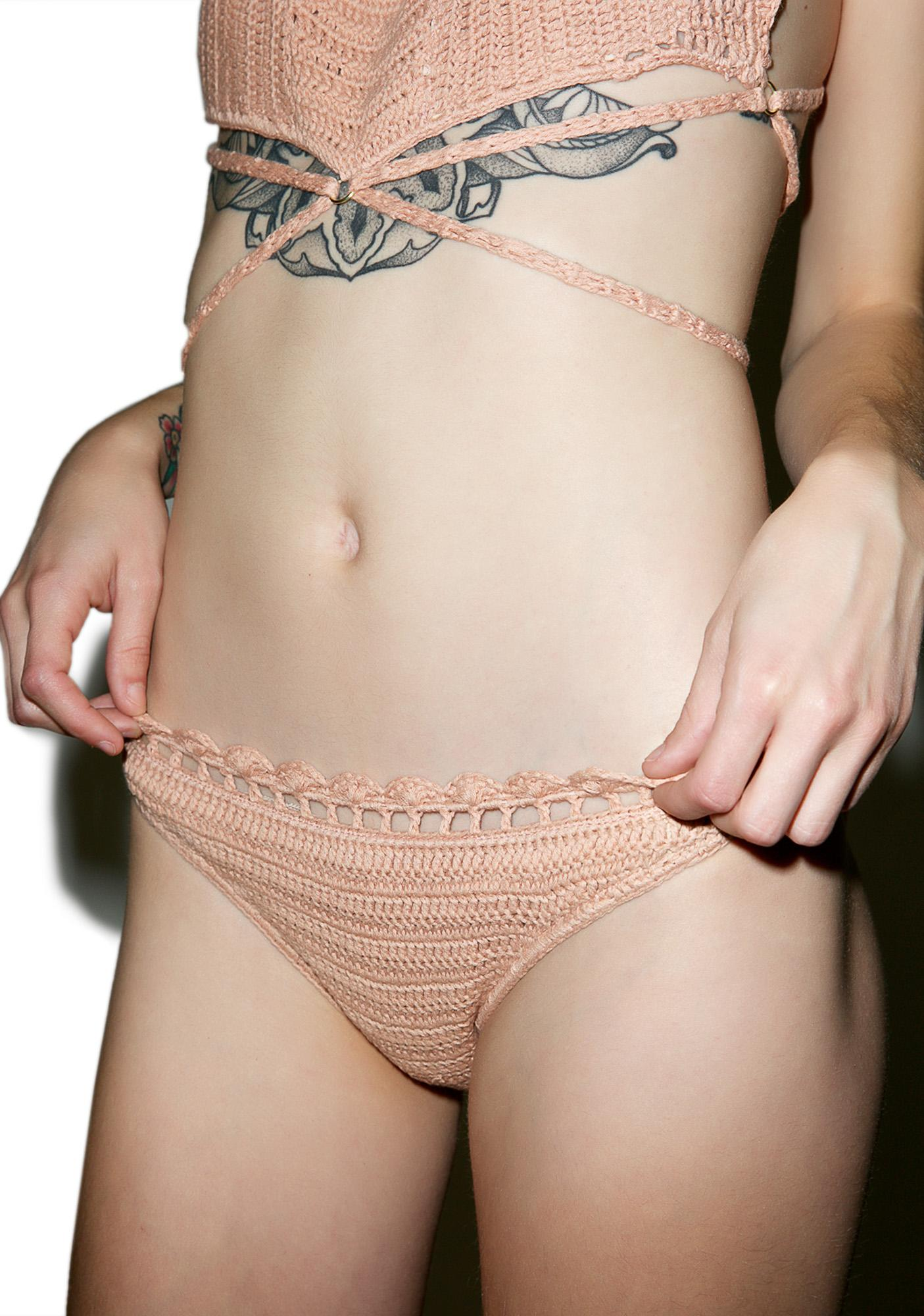 Somedays Lovin Daphne Crochet High Bikini Bottom