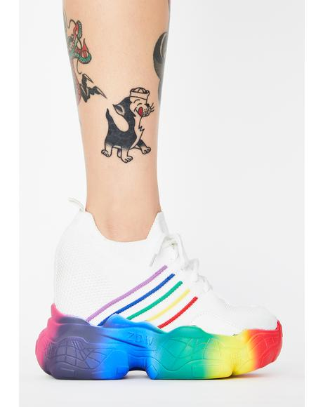 White Euphoria Ecstasy Platform Sneakers