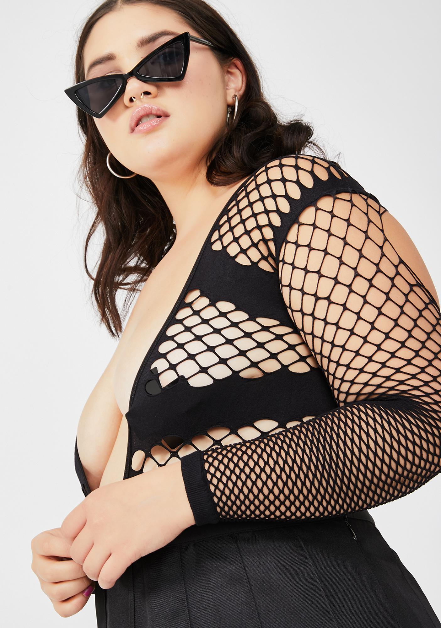 Lux Pyramids Fishnet Bodysuit