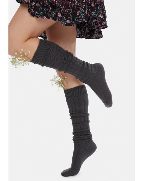 At Peace Knit Thigh High Socks