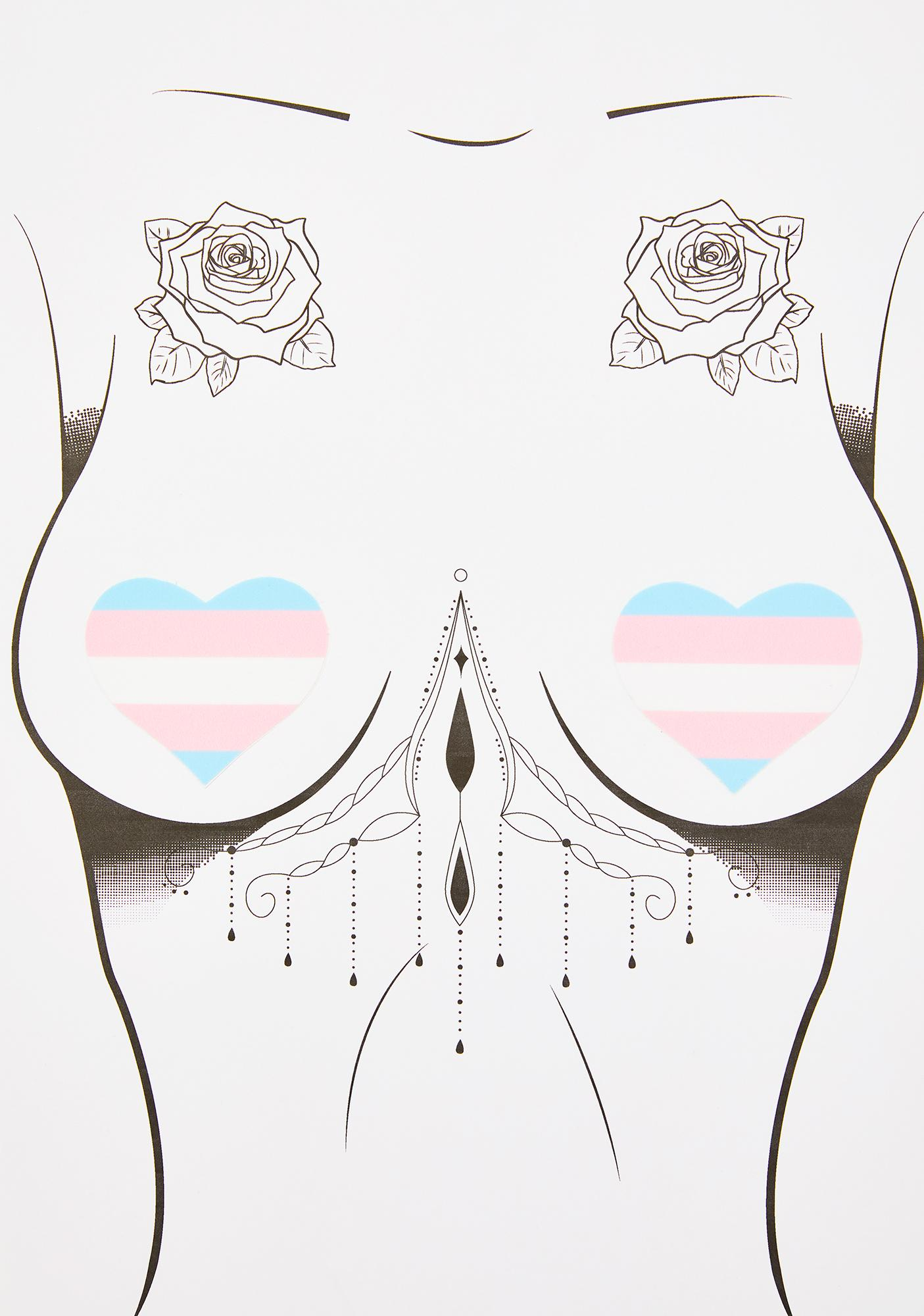 Pastease Trans Flag Heart Pasties