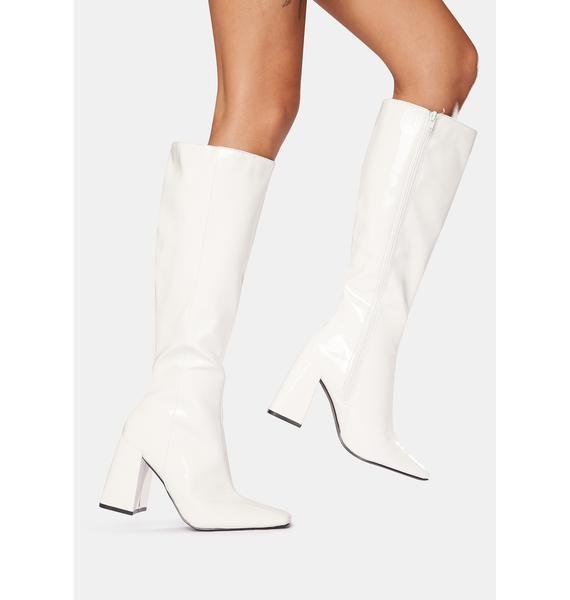 Public Desire White Apology Patent Knee High Boots