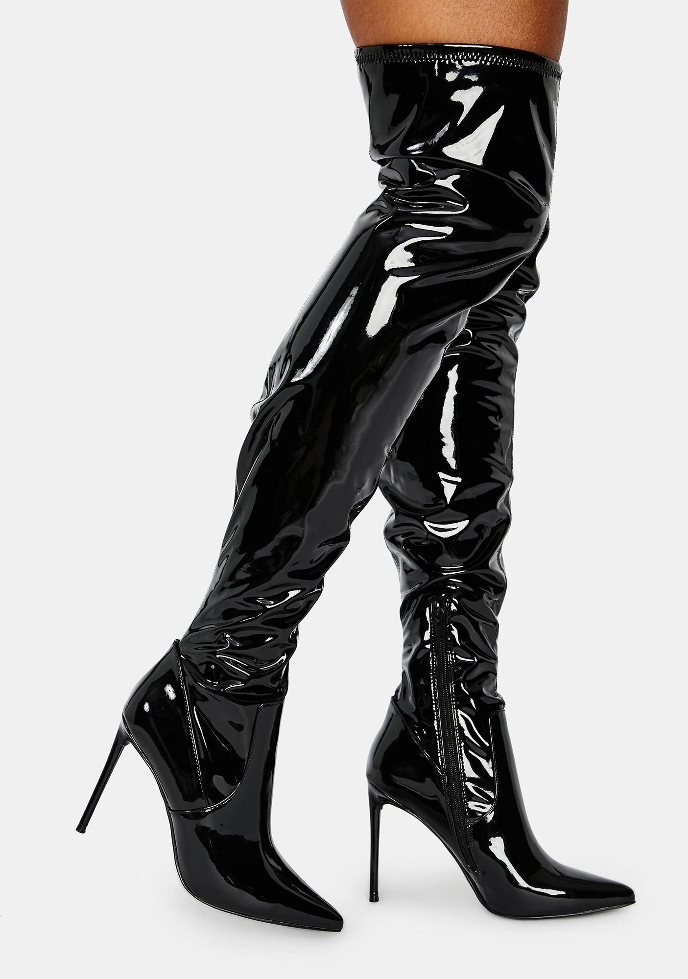 Steve Madden Patent Viktory Knee High Boots