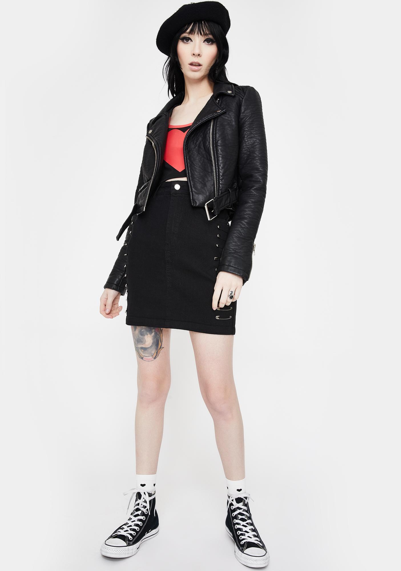 Jawbreaker Pins And Needles Denim Skirt
